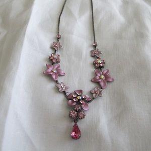 Vintage in pink floral necklace